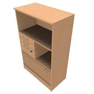 Förvaring med 1xA4 jalusi o lådsats B:800mm H:3xA4 D:435mm